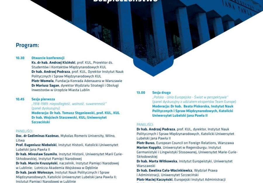"""Konferencja pt. ?Rzeczpospolita Polska 1918-2018: historia, geopolityka, bezpieczeństwo"""", Lublin, 20 listopada 2018 r."""