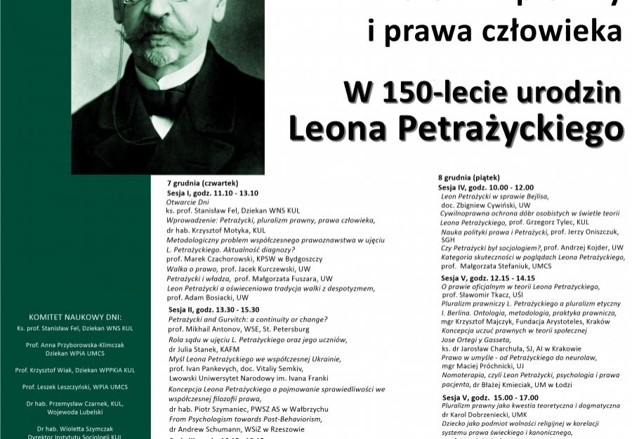 Program-plakat XXXV Dni Praw Człowieka: Petrażycki, pluralizm prawniczy, prawa człowieka